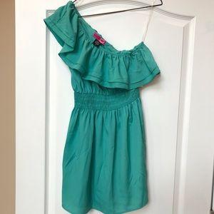 Turquoise/Sea Foam ruffle one shoulder dress